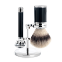 Shaving set from MÜHLE, Silvertip Fibre®, with safety razor, handle material high-grade resin black