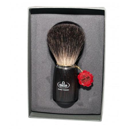 Omega 6712 brush (dark ash wood handle), Pure Badger, in gift box