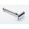 Classical safety razor with open comb, handle length 100 mm, including 10 Timor® razor blades and leather etui