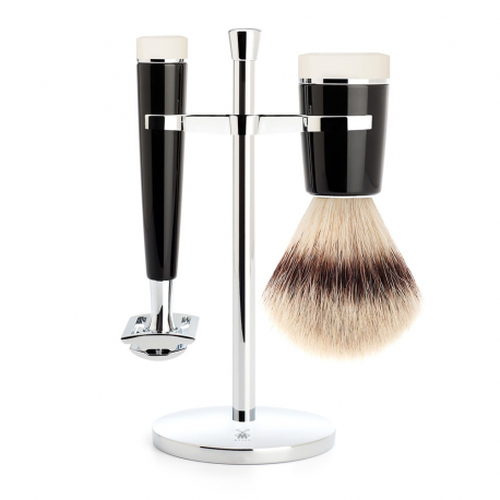 Shaving set of HvE x MÜHLE, Silvertip Fibre®, with safety razor, handle material made of high-grade resin black/ivory