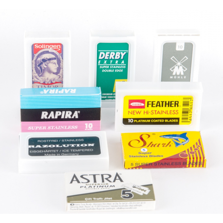 DE-Blades Sampler Pack (8 brands: Feather, Timor, Muhle, Razolution, Shark, Astra, Derby, Rapira)