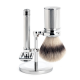 Shaving set from MÜHLE, Silvertip Fibre, safety razor, handle material metal